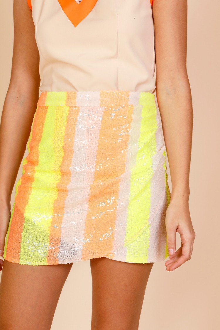 NEON STRIPED SKIRT