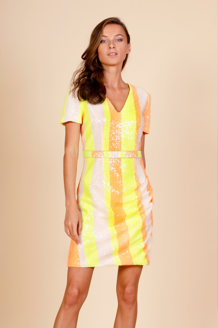 NEON STRIPED DRESS
